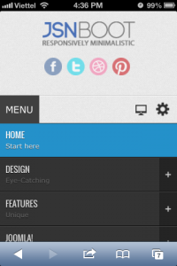 Mobile menu with rich text